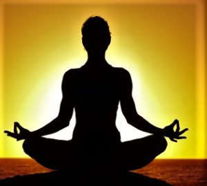 Meditate and setting sun